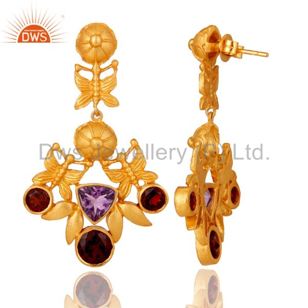 Suppliers Amethyst and Garnet Art Deco Sterling Silver Gold Plated Dangler Earring