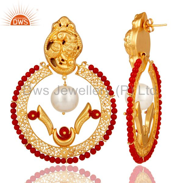 Suppliers 18K Yellow Gold Plated Sterling Silver Coral and Pearl Traditional Earring