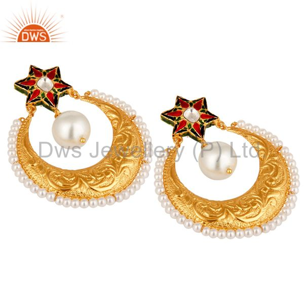 Suppliers Pearl and Crystal Quartz Textured Gold Plated Silver Enamel Stud Drop Earring