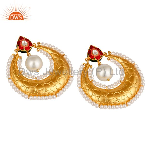 Suppliers Crystal Polki and White Pearl 18K gold Plated Sterling Silver Enamel Earring