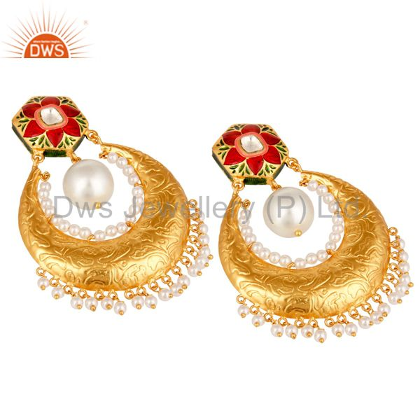 Suppliers Crystal Quartz Polki and Pearl 18K Gold Plated Sterling Silver Enamel Earring