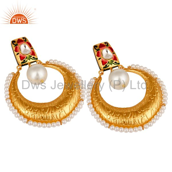 Suppliers Crystal Quartz and Pearl Textured Yellow Gold Plated Silver Stud Enamel Earring
