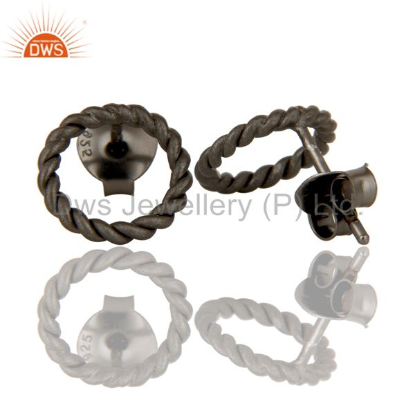 Suppliers Black Oxidized Sterling Silver Twisted Wire Stud
