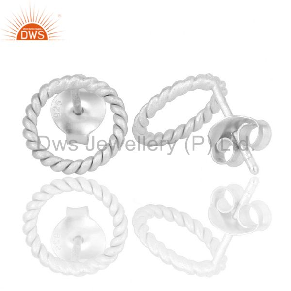 Suppliers Solid 925 Sterling Silver Twisted Wire Stud