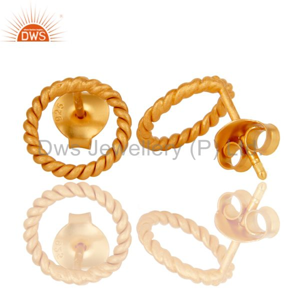 Suppliers 18K Yellow Gold Plated 925 Sterling Silver Handmade Twisted Wire Studs Earrings