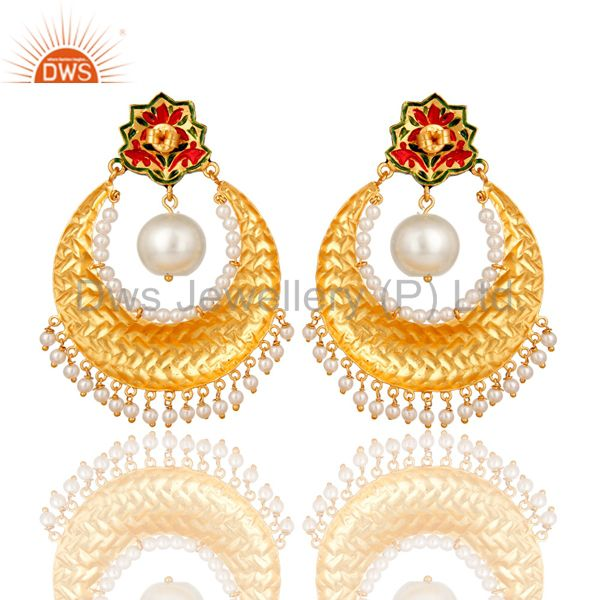 Suppliers Pearl and Crystal Quartz Sterling Silver Gold Plated Enamel Earring