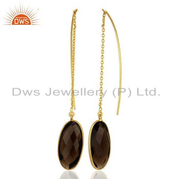 Suppliers Smoky Quartz Gemstone Gold Plated 925 Silver Chain Earring Supplier