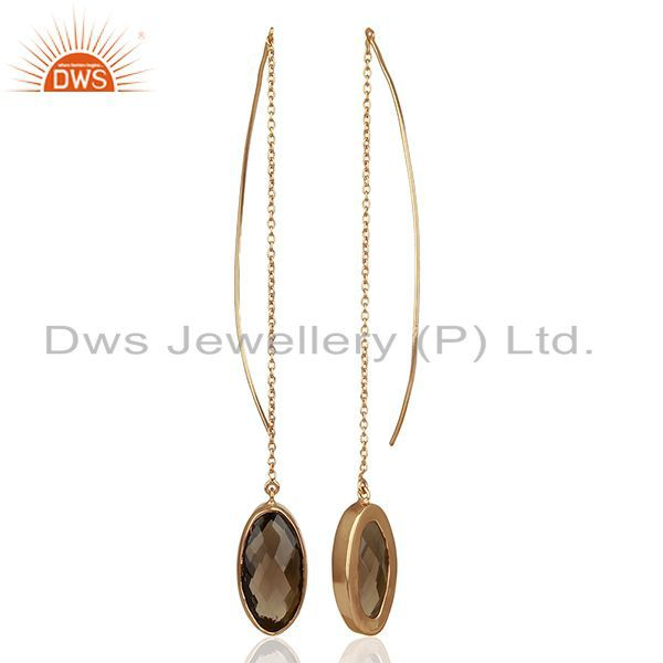 Suppliers Smokey Quartz Rose Gold Plated Sterling Silver Dangle Earring with Wire Back