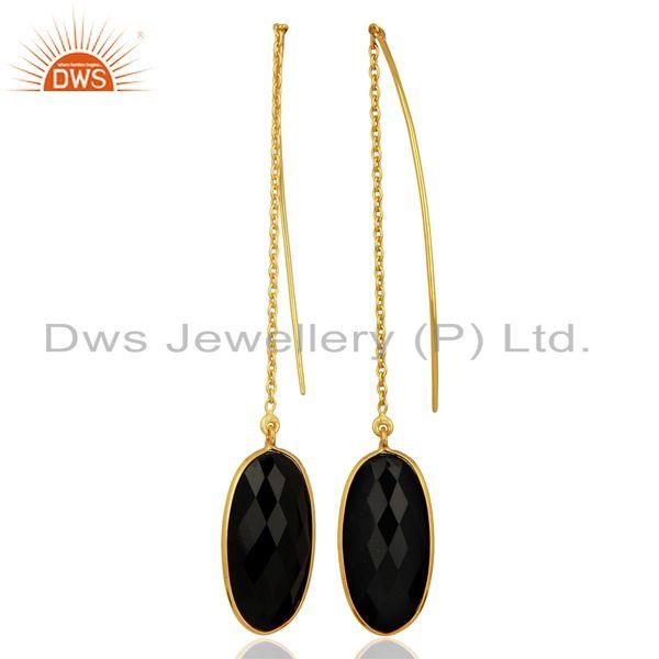 Suppliers Gold Plated 925 Silver Black Onyx Gemstone Chain Earring Manufacturer