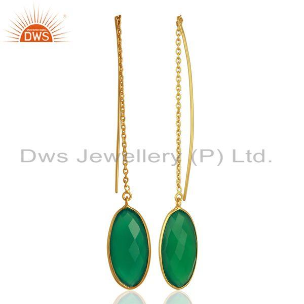 Suppliers Handmade 925 Silver Gold Plated Green Onyx Gemstone Chain Earrings