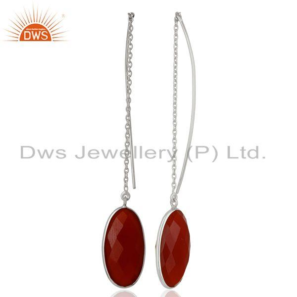 Suppliers Red Onyx Gemstone 925 Sterling Fine Silver Chain Earrings Manufacturer