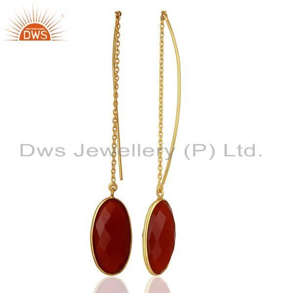 Suppliers Red Onyx Gemstone Gold Plated 925 Silver Chain Earrings Manufacturer