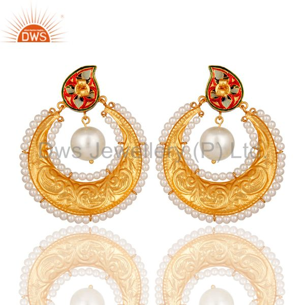 Suppliers 18K Gold Plated Sterling Silver Crystal Polki and Pearl Enamel Earring