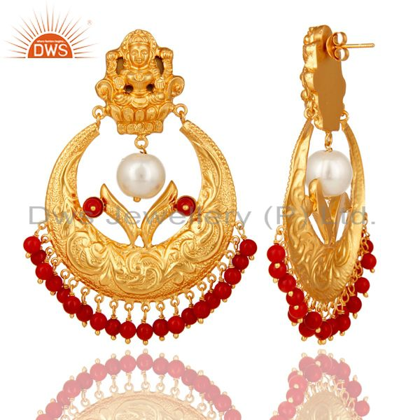 Suppliers Coral and Pearl Beads 18K Gold Plated 925 Silver Temple Jewelry Jhumka Earring