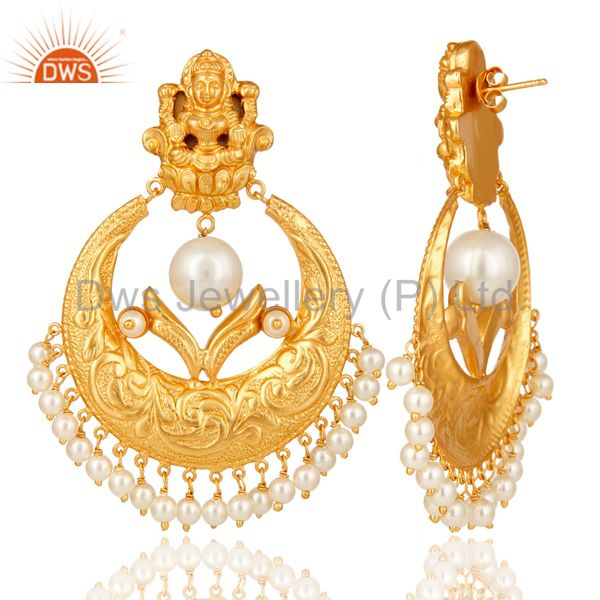 Suppliers Pearl Beads 18K Gold Plated 925 Silver Temple Jewelry Jhumka Earring