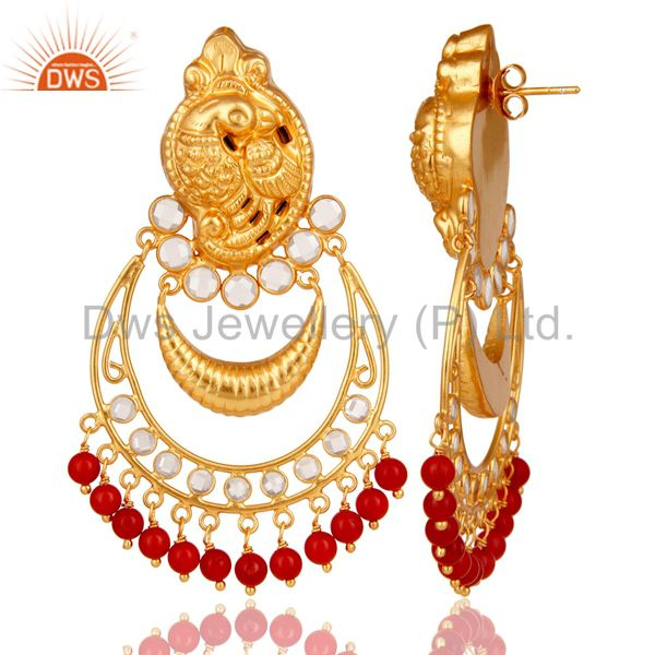 Suppliers Coral and CZ 18K Gold Plated Sterling Silver Jhumka Earring Temple Jewelry