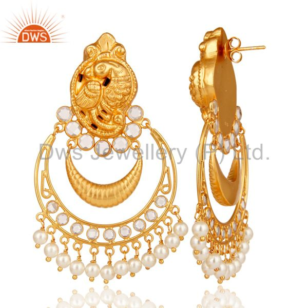 Suppliers Pearl and CZ 18K Gold Plated Sterling Silver Jhumka Earring Temple Jewelry