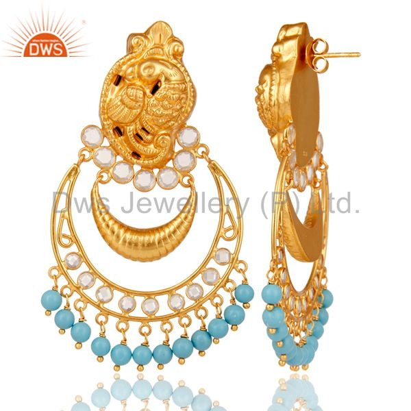 Suppliers Turquoise and CZ 18K Gold Plated Sterling Silver Jhumka Earring Temple Jewelry