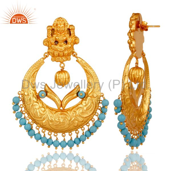 Suppliers Cultured Turquoise 18K Gold Plated Sterling Silver Temple Jewelry Earring