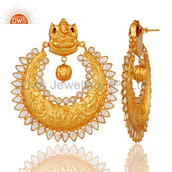 Suppliers Pearl and 18K Gold Plated Sterling Silver Temple Jewelry Earring