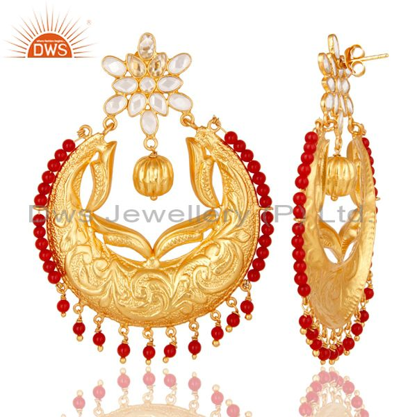 Suppliers Coral & White Zircon 18K Gold Plated Sterling Silver Temple Jewelry Earrings