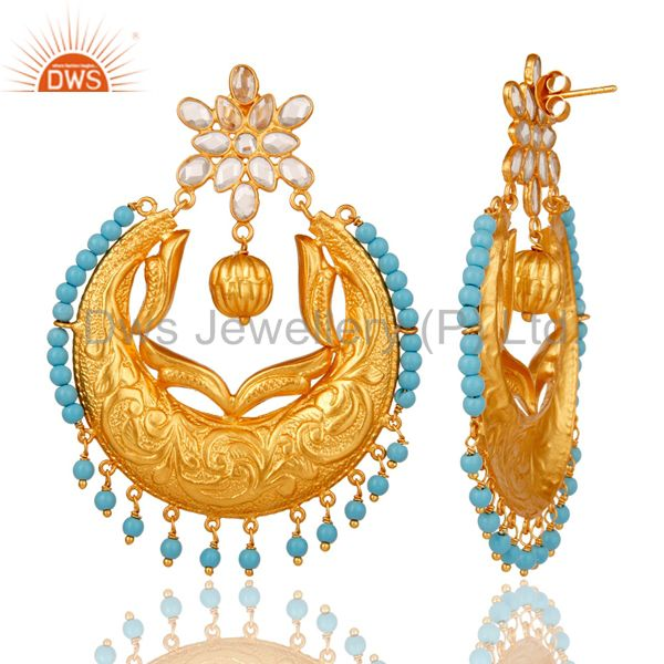 Suppliers Turquoise and Cubic Zircon Sterling Silver 18K Gold Plated Chand Bali Earring