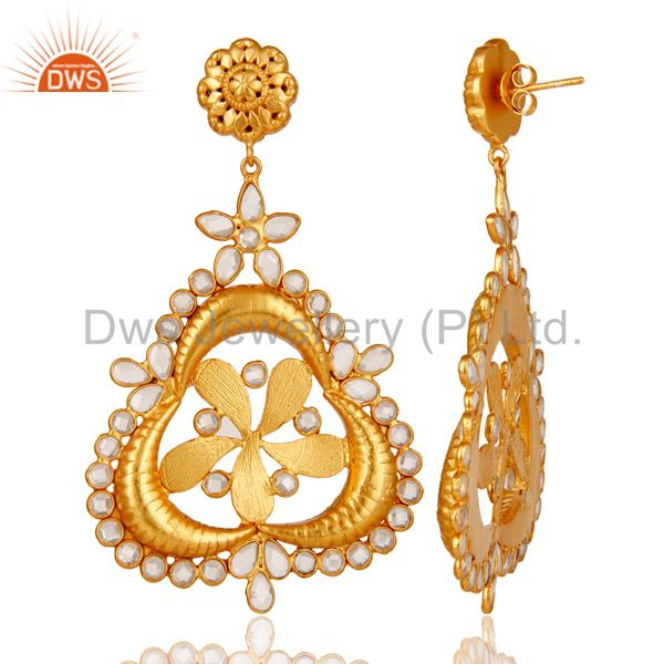Suppliers White Zircon 18K Gold Plated Sterling Silver Earring