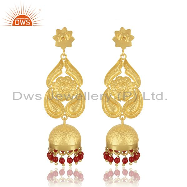 Suppliers 18K Gold Plated Sterling Silver Traditional Jhumka Earring With Coral