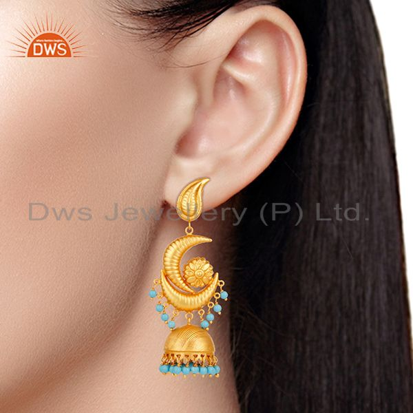 Suppliers 18K Yellow Gold Plated 925 Sterling Silver Turquoise Traditional Jhumka Earring