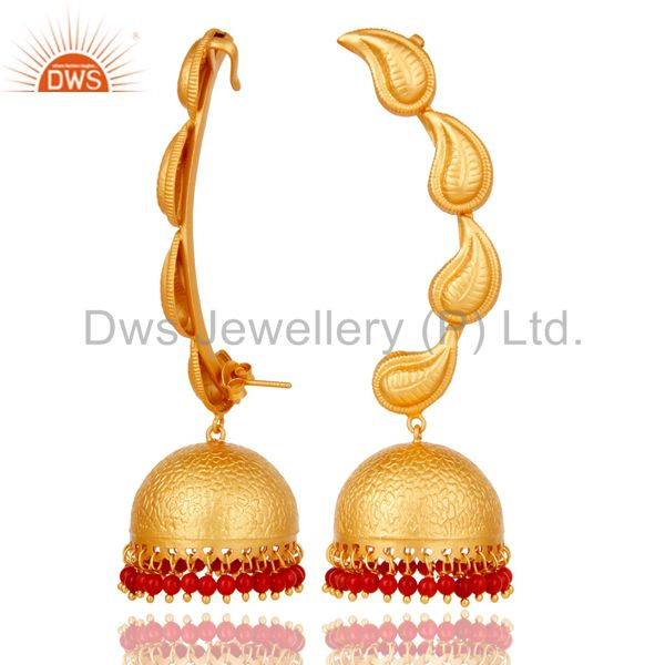 Suppliers Traditional Jhumka Earrings 18k Gold Plated With Sterling Silver And Coral