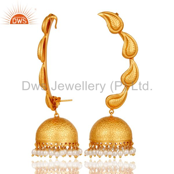Suppliers Traditional Jhumka Earrings 18k Gold Plated With Sterling Silver & Pearl