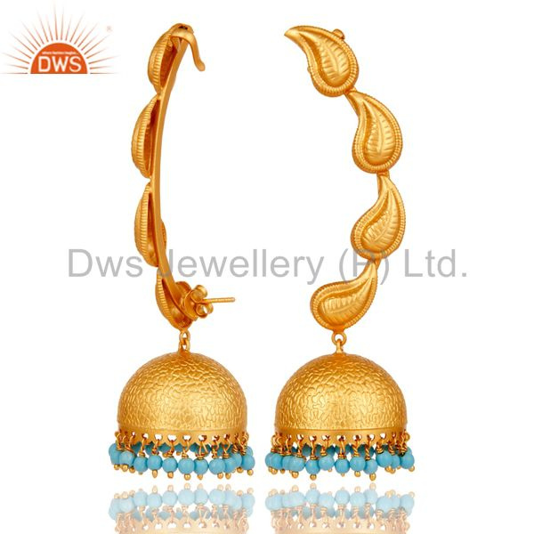 Suppliers Traditional Jhumka Earrings 18k Gold Plated With Sterling Silver And Turquoise