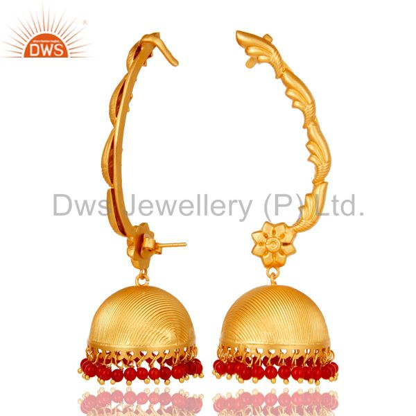 Suppliers Traditional Jhumka Ear Cuff with 18K Gold Plated Sterling Silver and Coral
