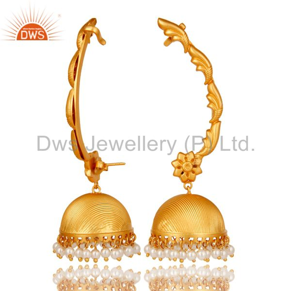 Suppliers Traditional Jhumka Ear Cuff with 18K Gold Plated Sterling Silver and Pearl