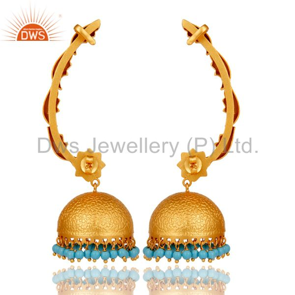 Suppliers 18K Gold Plated 925 Sterling Silver Ethnic Bollywood Turquoise Jhumka Ear Cuff