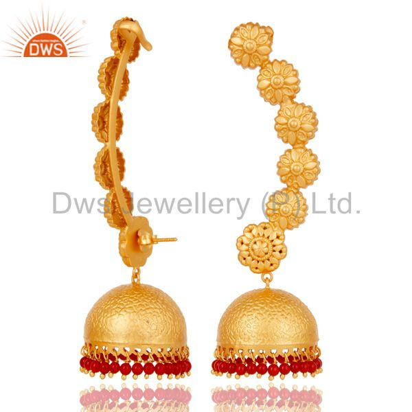Suppliers 18K Gold Plated 925 Sterling Silver Red Coral Traditional Ear Cuff Jewelry