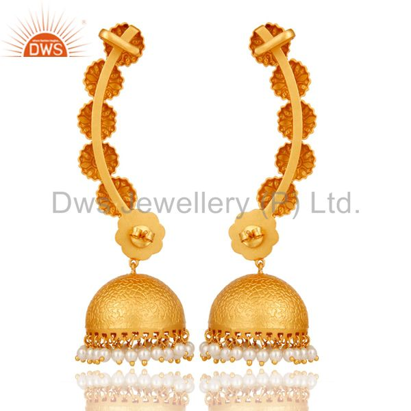 Suppliers Ear Cuff Traditional Jhumka with 18K Gold Plated Sterling Silver and Pearl
