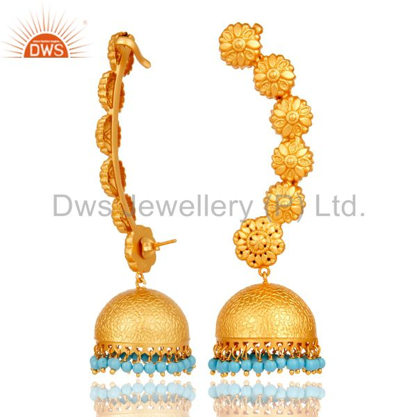 Suppliers Ear Cuff Traditional Jhumka with 18K Gold Plated Sterling Silver and Turquoise