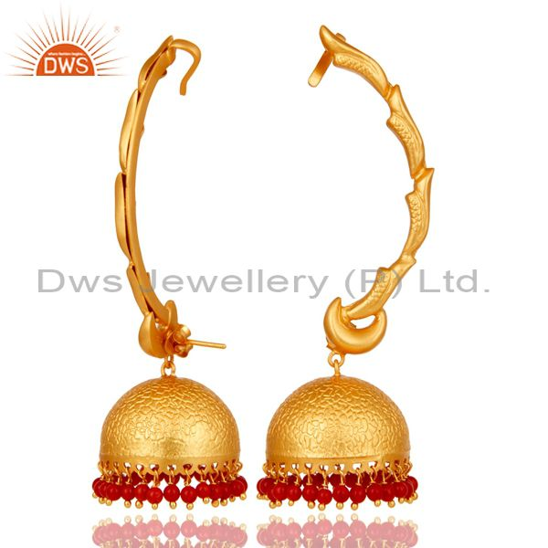 Suppliers Ear Cuff Traditional Jhumka 18K Gold Plated Sterling Silver and Coral
