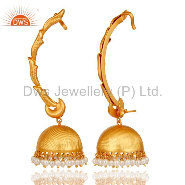 Suppliers Ear Cuff Traditional Jhumka 18K Gold Plated Sterling Silver and Pearl