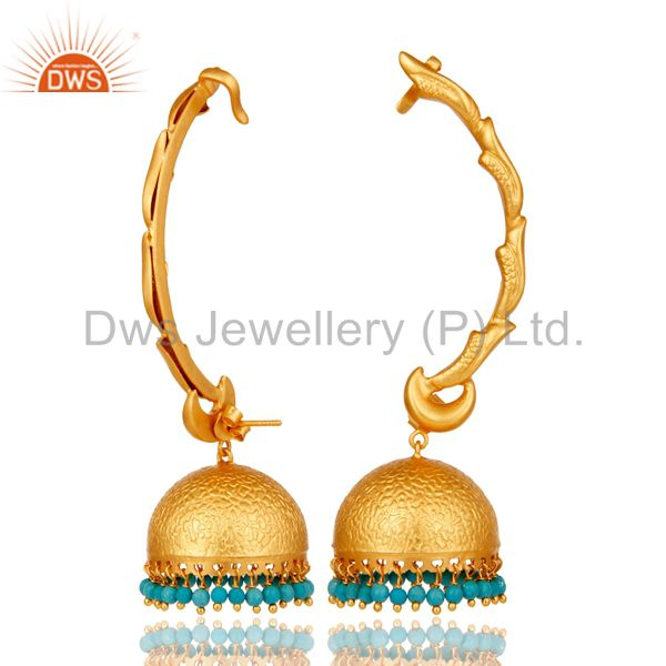 Suppliers Ear Cuff Traditional Jhumka 18K Gold Plated Sterling Silver and Turquoise