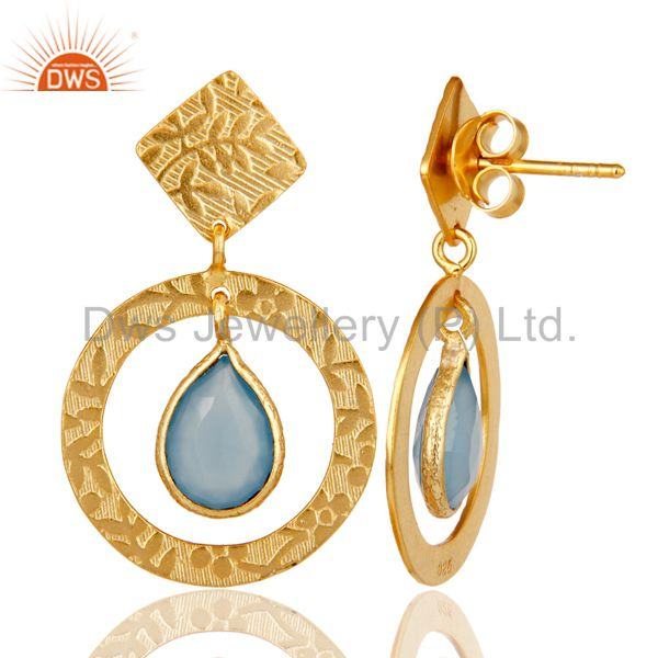 Suppliers Handmade Traditional Sterling Silver Earrins with 18k Gold Plated & Chalcedony