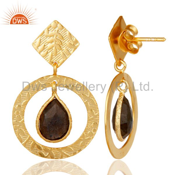 Suppliers Handmade Traditional Sterling Silver Earrings with 18k Gold Plated & Labradorite