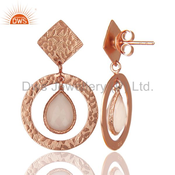 Suppliers 14K Rose Plated 925 Sterling Silver Dyed Chalcedony Bezel Set Drops Earrings