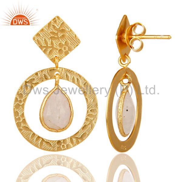 Suppliers 18K Gold Plated Sterling Silver Textured Rainbow Moonstone Bezel Set Earrings