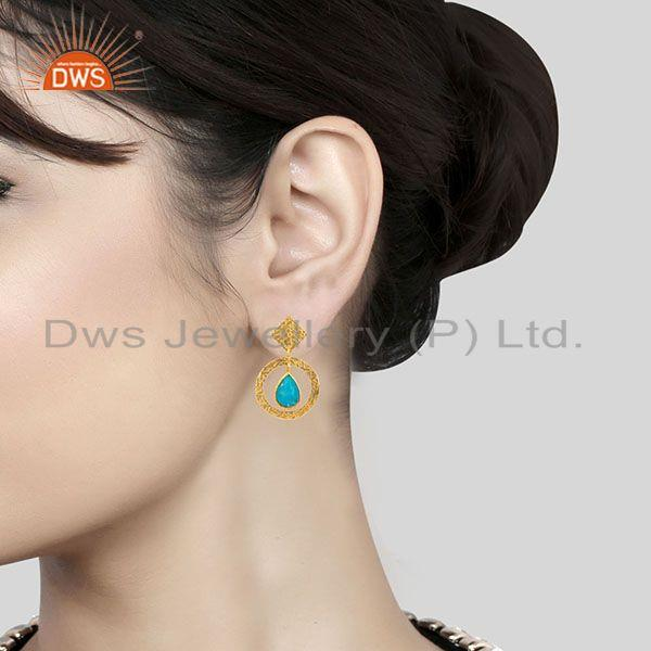 Suppliers 18K Gold Plated Sterling Silver Textured Natural Turquoise Bezel Set Earrings
