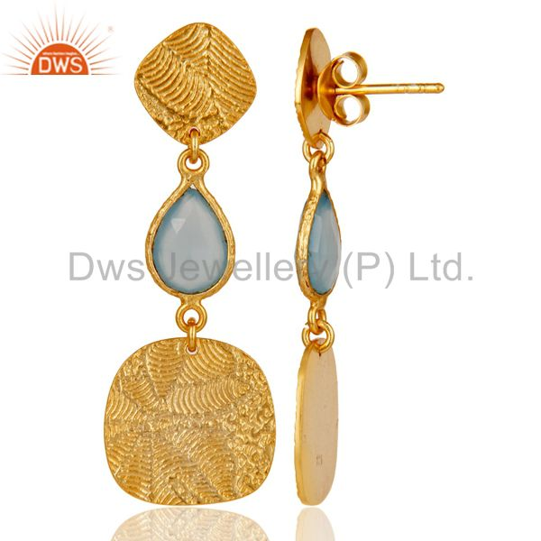 Suppliers 18k Yellow Gold Plated 925 Sterling Silver Chalcedony Dangle Earrings