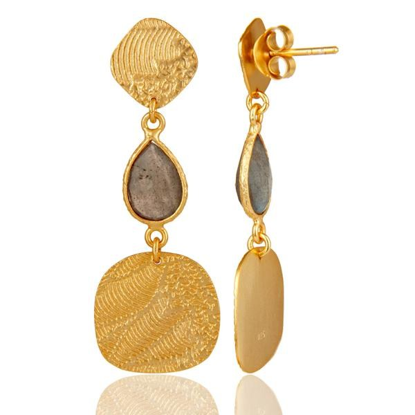 Suppliers 18k Yellow Gold Plated 925 Sterling Silver Labradorite Dangle Earrings