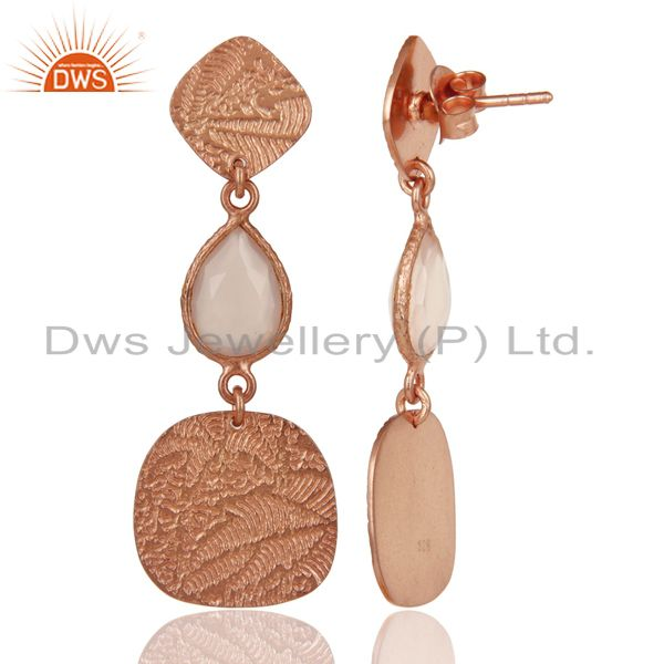 Suppliers 18k Rose Gold Plated 925 Sterling Silver Textured Dyed Chalcedony Dangle Earring