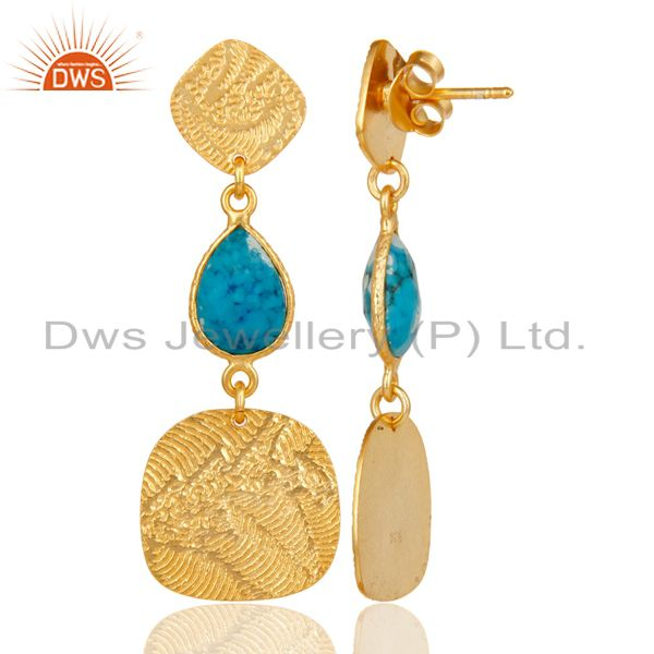 Suppliers 22k Gold Plated 925 Sterling Silver Textured Design Turquoise Dangle Earrings